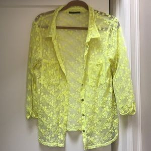 Neon Yellow Floral Blouse